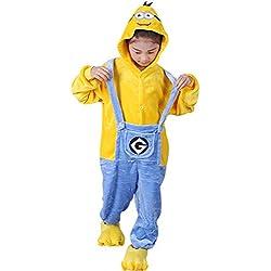 "Dolamen Niños Unisexo Onesies Kigurumi Pijamas, Niña Traje Disfraz Animal Pyjamas, Ropa de Dormir Halloween Cosplay Navidad Animales de Vestuario (120-130CM (47""-51""), Minions)"