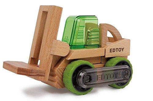 Gabelstapler, 8-tlg. Bausatz aus Holz, kinderleicht einen Gabelstapler, ein Lastfahrzeug oder einen Rennwagen bauen, fördert die Motorik, für kleine Fahrzeug-Fans ab 3 Jahre