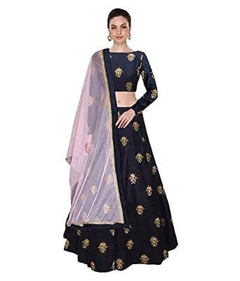 Pavitra Creation Navy Blue Partywear Embroidered banglori Silk Semi-Stitched Lehenga-Unsitched Choli With Net Dupatta AFL-13