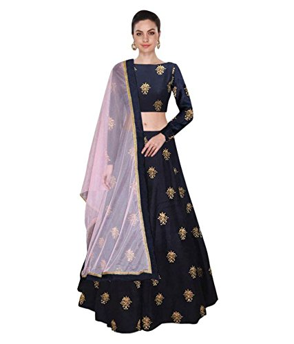 Pavitra Creation Navy Blue Partywear Embroidered banglori Silk Semi-Stitched Lehenga-Unsitched Choli With...