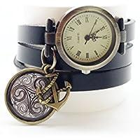 montre cuir bracelet 3 rangs cabochon bronze illustré vintage, bretagne, breizh, triskel, noir