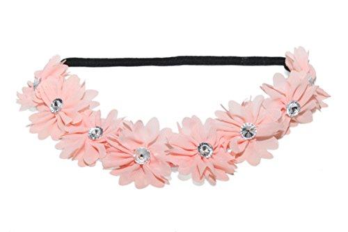 LUX Zubehör Lux Peach Pink Stoff Blume Strass Stretch Stirnband Chiffon Floral Head Band