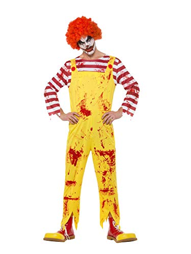 Mcdonald Clown Ronald Kostüm - Smiffys 40328XL Killer Clown-Kostüm, Herren, Gelb & Rot, Größe XL: 116,8-122 cm