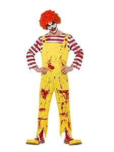 Smiffys 40328L - Disfraz de payaso asesino para hombre, color amarillo y rojo, talla L, 106,68-111,76 cm