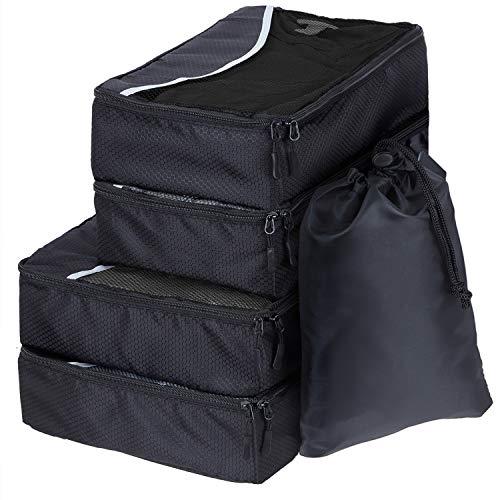 SWISSONA 5 Packwürfel im Set in 3 unterschiedlichen Größen, robust & langlebig, schwarz, Packing Cubes Verpackungswürfel, Packtaschen, ...