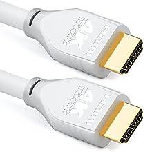 deleyCON 3,0m HDMI Cavo 2.0 a/b - HDR 10+ UHD 2160p 4K@60Hz YUV 4:4:4 HDR HDCP 2.2 3D ARC Dolby Digital + Dolby ATMOS - Bianco Grigio