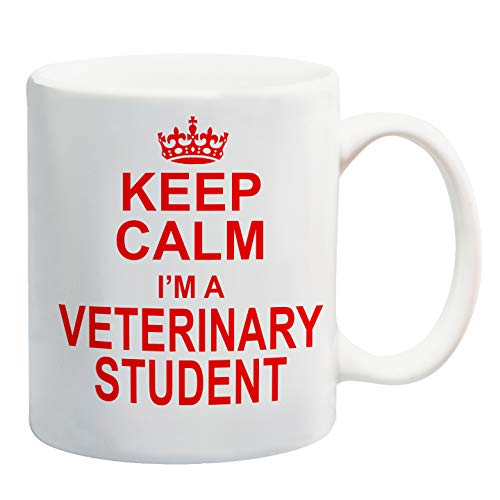 Taza de regalo para estudiantes de veterinaria con texto en inglés Keep Calm I'm a Veterinary Student
