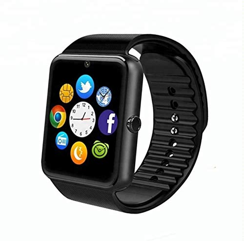 CulturesIn Smart Watch, GT08 Touch Screen Bluetooth Armbanduhr mit Kamera/SIM Kartensteckplatz/Schrittzähleranalyse/Schlafüberwachung für Android (Vollfunktionen) und IOS (Teilfunktionen) (Gun Black)