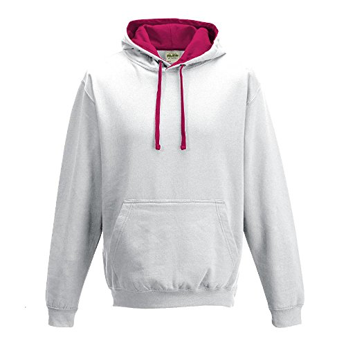 Just Hoods Varsity Sweat à capuche avec capuche couleur contrastée Arctic White/Hot Pink