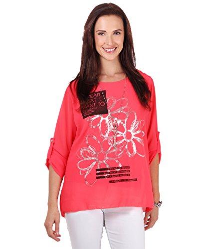 KRISP Damen Langarm Bluse Elegantes Oberteil Shirt mit Print Metallic Geblümt Koralle