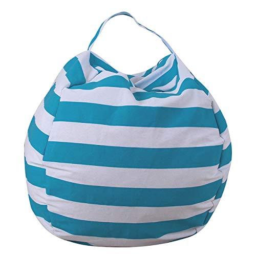 THEE Spielzeug Aufbewharungstasche Streife Sitzsack Aufbewahrung Beutel Lagerung (32 inch, Hellblau)