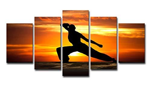 Hdwallart large canvas parete picture prints hd stampato 5 pezzo su tela che gioca arti marziali pittura kung fu immagini a parete per soggiorno, xl: 63.5x127 cm (25