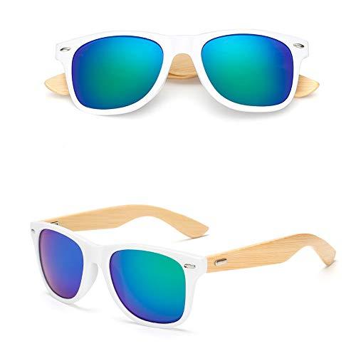 Eye-nak Holz Sonnenbrille UV400 - Unisex Damen und Herren Brille mit Bambus Bügeln - Holzbrille - unterschiedliche Farben (C17)