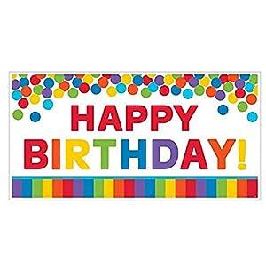 Cartel de fiesta gigante, de la marca Amscan, 120170, de 85 cm, con diseño principal de arcoiris, con el texto en inglés «Happy Birthday»
