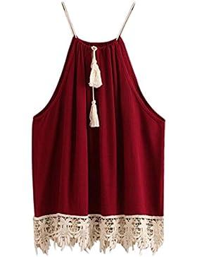 HARRYSTORE 2017 Mujeres Lace Trimmed Tops Tasselado Drawstring Blusa Tank Tops Camiseta Roja