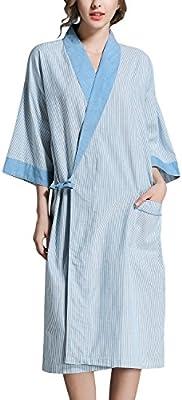 Dolamen Unisex Mujer Hombre Vestido Kimono Lino de Algodon, Camisón para mujer, Robe Albornoz Dama de honor Ropa de dormir Pijama, Busto 130 cm, 51,18inch, de gran tamaño para todos