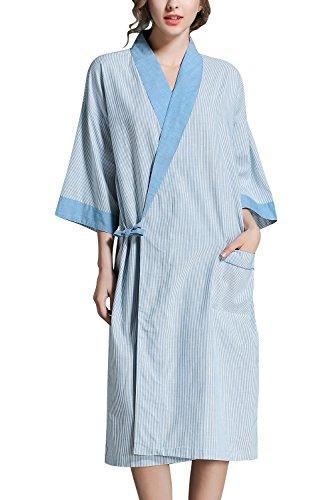 Dolamen Unisex Damen Herren Morgenmantel Kimono, Bettwäsche aus Baumwolle Nachtwäsche Bademantel Robe Kimono Negligee locker Schlafanzug, Büste 130cm, 51,18 Zoll, große Größe für alle (Blau) (Robe Satin Blau Baumwolle)