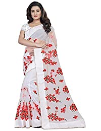 7a04ab51d Orangesell Women s Mono Net Embroidery Work Saree With Blouse  Piece(White Free Size)