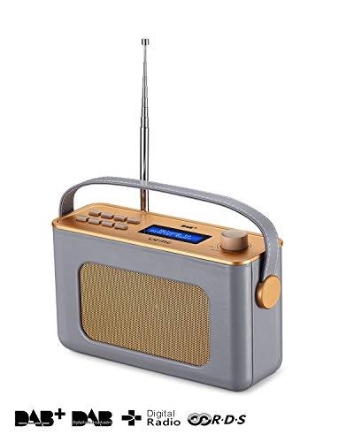 UEME Retro Digitalradio mit Bluetooth, DAB+ DAB UKW Radio, Radiowecker, und Leder Verkleiden (Grau) -