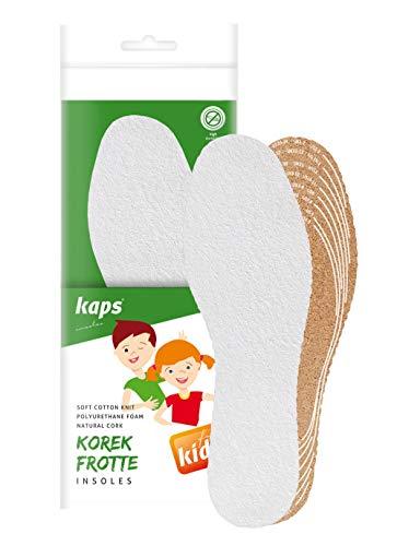 Kaps Cork Frotte Kids, Solette in Spugna e Suola in Sughero Per Bambini, Freschezza e Igiene, Fatte su misura, Ritagliate su Misura, Tutte le Taglie, Made in Europe, 1 Paio