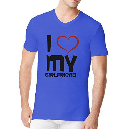 Fun Sprüche Männer V-Neck Shirt - Valentinstag - I love my girlfriend by Im-Shirt Royal