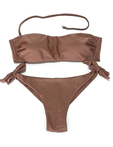 EONAR Damen Seitlich Gebunden Bikini-sets Bandeau Top Niedriger Bund Brazil-Bikinihosen (XL,Clove)