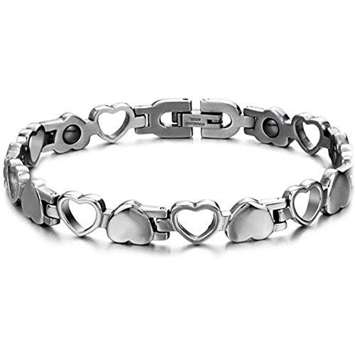 JewelryWe Schmuck Edelstahl Herz Magnetarmband, Germanium Magnet Armband Partnerarmband Armreif, Valentine, Farbe Silber für Herren