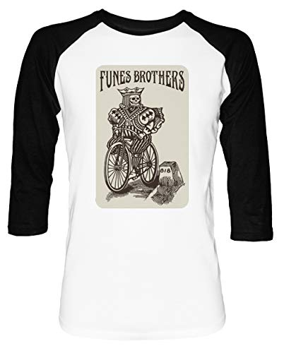 Funes Brothers - Bicycle Herren Damen Unisex Baseball T-Shirt Weiß Schwarz 2/3 Ärmel Women's Men's Unisex Größe M Men's White T-Shirt Medium Size M - Dachs Womens T-shirt