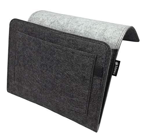 Bett-tasche (Tebewo Bett-Organizer aus Filz   stabile Bett-Ablage   Hängeregal für Bettkasten   Bett-Tasche zur Aufbewahrung von Büchern, Fernbedienung und mehr (grau/dunkelgrau))