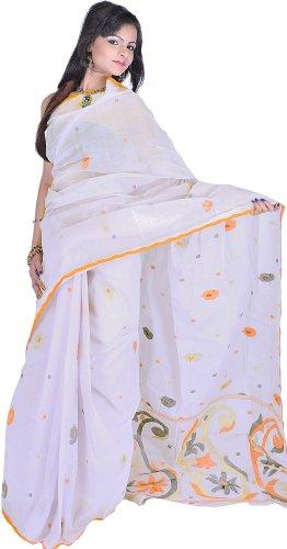 Exotic India Gray Dawn Dhakai Saree from Kolkata with Hand Woven Paisleys...