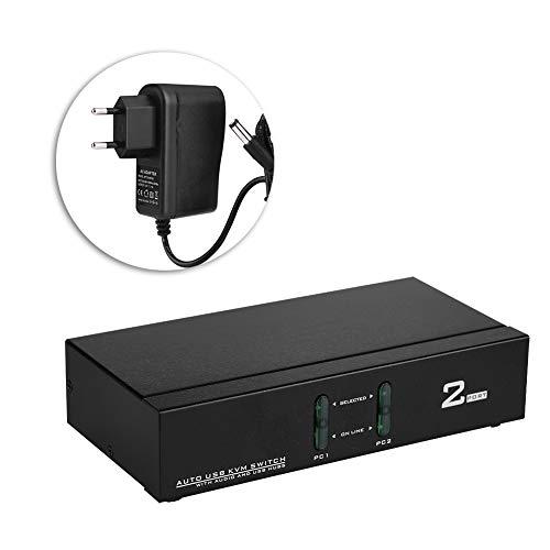 Walfront 2 Port USB VGA KVM Switch Box VGA Video Sharing Adapter 2 In 1 Out Switcher mit USB Kabel Unterstützt bis zu 1920 x 1440 Auflösung für Computer, PC, Laptop(EU)