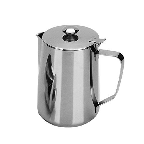 biaozh-stainless Stahl Spitze Tasse mit Messbecher Schaumstoff Kaffeekanne Kaffee Krug Milch aufschäumen Krug mit lid-silver 1 l (Spitze Krug)