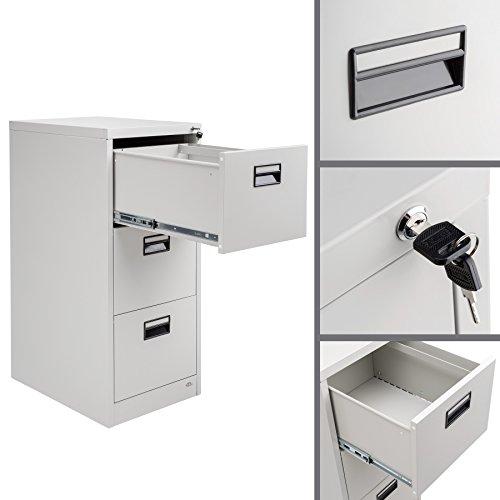 TecTake Hängeregisterschrank Aktenschrank mit 3 Schubladen abschließbar (HxBxT) ca. 62,5x46x103 cm - 3