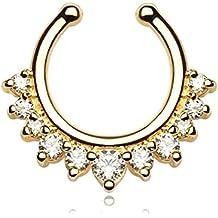 Falso Piercing septum (nariz) en acero quirúrgico dorado y cristal–clip