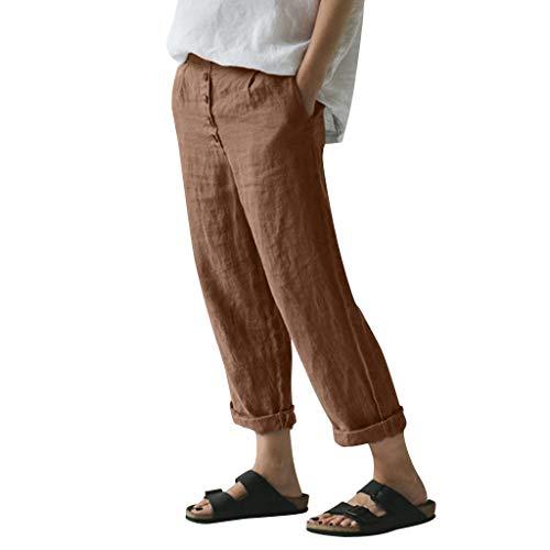 WOZOW Freizeithose Stoffhose Damen Solid Einfarbig Bettwäsche Leinen Lose Casual Lang Long Straight Leg High Waist Arbeitskleidung Mode Slim Elegant Crop Trousers (XL,Braun)