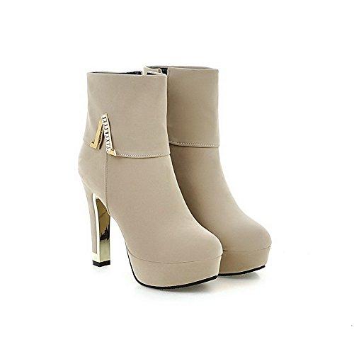 AgooLar Damen Reißverschluss Hoher Absatz Nubukleder Stiefel mit Beschlagene Strass Cremefarben