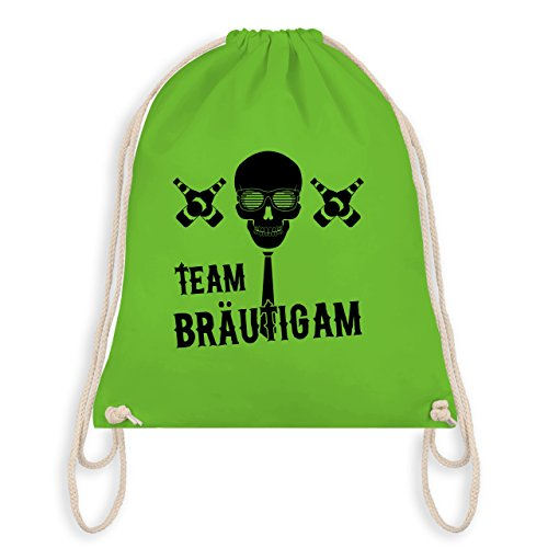 JGA Junggesellenabschied - Team Bräutigam Totenkopf - Turnbeutel I Gym Bag Hellgrün