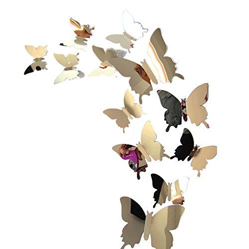 ToDIDAF 3D Spiegel Wandaufkleber/Schmetterlinge geformt Aufkleber/Wandkunst für Heimtextilien, Partybedarf für Weihnachten/Hochzeit/Jubiläum (Packung mit 12, Silber)
