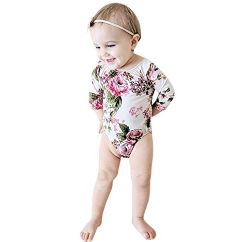 Neugeboren Baby Mädchen Blumen Drucken Overall Kleider Hirolan Niedlich Kleinkind Hälfte Hülse Spielanzug Outfits (Weiß, 80cm)