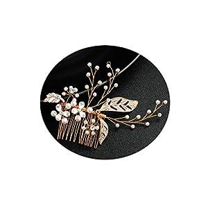 Epinki Kopfschmuck Haarkamm Blatt mit Weiß Zirkonia Haare kämmen Gold für Hochzeit