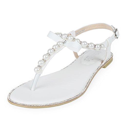 SheSole Leather Pu Damen Sandalen Hochzeit Schuhe Sommer Zehentrenner Weiß EU (Schuhe Online Frauen)