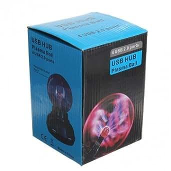 4 Ports USB 2.0 HUB Plasma Ball Sphere Light Novelty