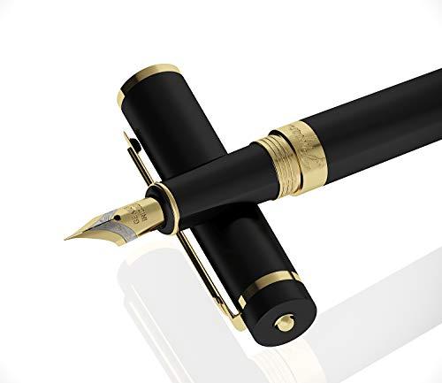 Luxus Füllfederhalter mit Geschenketui von Drydren [Schwarz] | Füllfederhalter-Set für Führungskräfte | Klassischer Füllfederhalter | Business-Geschenk | Kalligraphie | Tintenkonverter