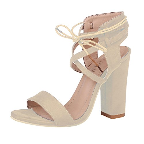 Kootk Schuhe Damen High Heels Blockabsatz Sandalen Lace-Up Offene Pumps Elegante Riemchensandalen Absatzschuhe Hoch Absatz Sommerschuhe Abendschuhe Party Schuhe Beige 43 -
