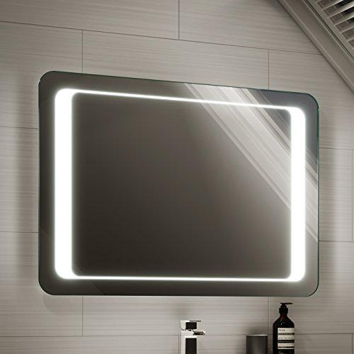 Soak Espejo de baño de 900 x 650mm con luz LED, sensor de encendido y sistema antivaho