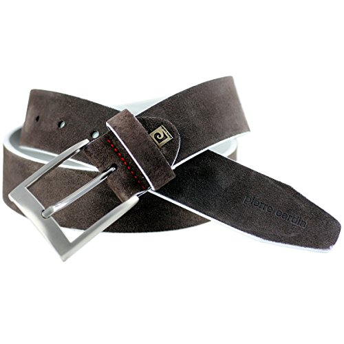 Pierre Cardin LINDENMANN leather belt Men/suede leather belt for Mens, dark brown, Größe/Size:100