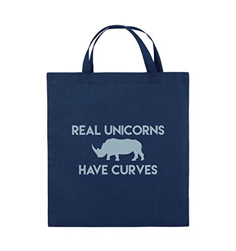 Borse Da Commedia - Veri Unicorni Hanno Curve - Borsa Di Juta - Manico Corto - 38x42cm - Colore: Nero / Rosa Blu / Blu Ghiaccio