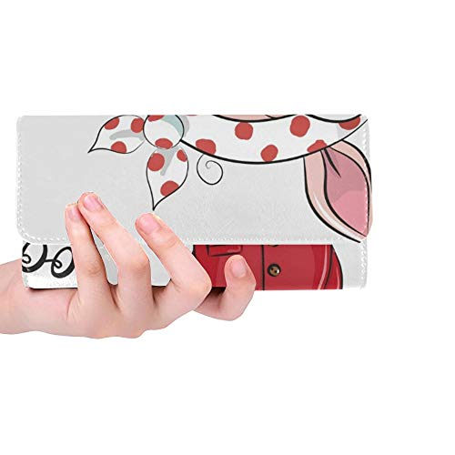 Einzigartige benutzerdefinierte Coole Cartoon niedlichen Schwein Sonnenbrille Frauen Trifold Brieftasche Lange Geldbörse Kreditkarteninhaber Fall Handtasche