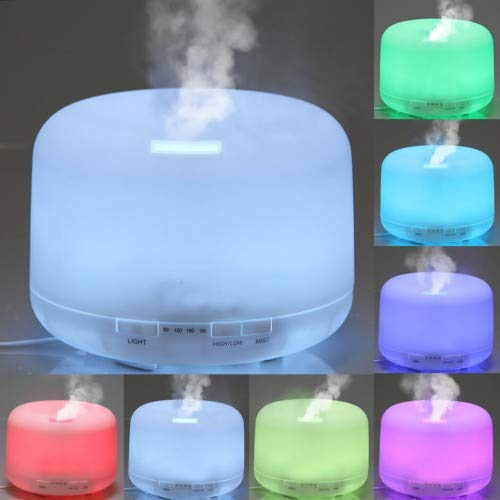Humidificador Aceites Esenciales 500ml Aiho Difusor Aromaterapia Ultrasonico 7-Color LED 4 Ajustes de Tiempo Para Yoga Spa Hogar Oficina Dormitorio (Blanco)