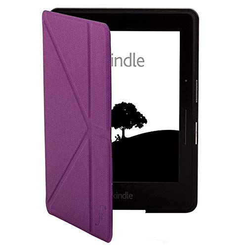 azon Kindle Voyage Origami Hülle Schutzhülle Tasche Bumper Folio Smart Case Cover Stand - Ultra Dünn und Leicht mit Rundum-Geräteschutz und intelligente Auto Schlaf / Wach Funktion inkl. Eingabestift (VIOLETT) ()